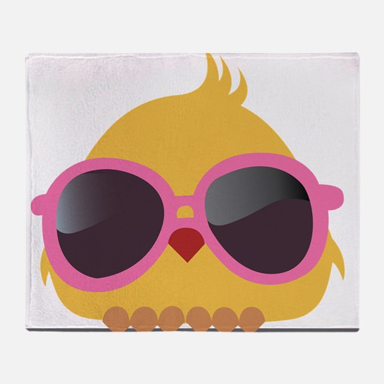 Chick Wearing Sunglasses Throw Blanket