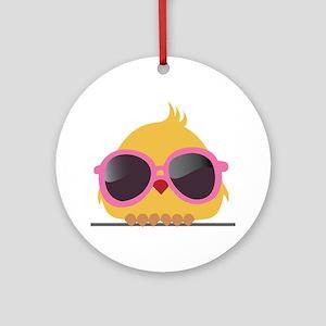 Chick Wearing Sunglasses Ornament (Round)