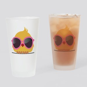 Chick Wearing Sunglasses Drinking Glass