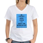 Keep Calm Worldport Women's V-Neck T-Shirt