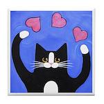 Love Juggler Tuxedo CAT ART Tile