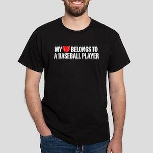 My Heart Belongs To A Baseball Player Dark T-Shirt