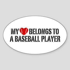My Heart Belongs To A Baseball Player Sticker (Ova