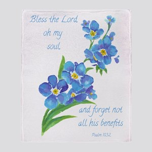 Forget Me Not Flowers With Scripture Throw Blanket