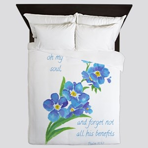 Forget Me Not Flowers with Scripture Queen Duvet