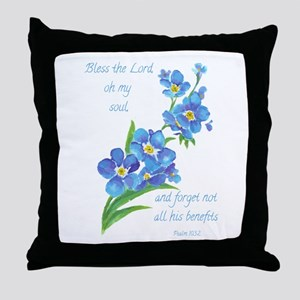 Forget Me Not Flowers with Scripture Throw Pillow