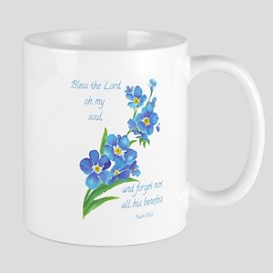 Forget Me Not Flowers with Scripture Small Mugs