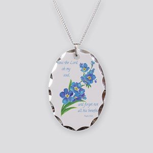 Forget Me Not Flowers with Scripture Necklace Oval