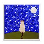 Siamese CAT On A Starry Night ART Tile