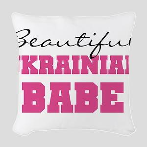 Ukrainian Babe Woven Throw Pillow