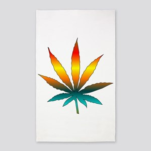 Rainbow Marijuana Leaf 3'x5' Area Rug