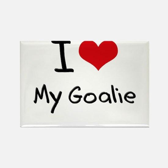 I Love My Goalie Rectangle Magnet