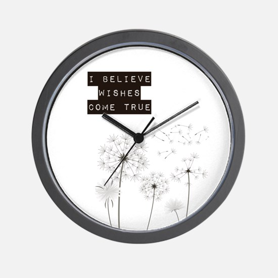 Believe in Wishes Dandelions Wall Clock