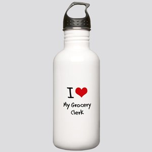 I Love My Grocery Clerk Water Bottle