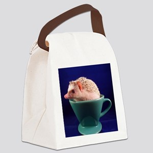 .hedgie in a cup. Canvas Lunch Bag