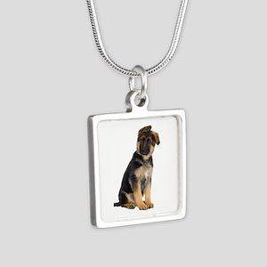 German Shepherd! Silver Square Necklace