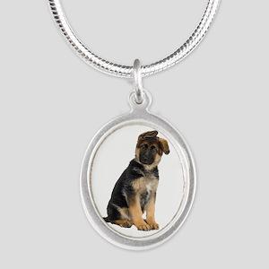 German Shepherd! Silver Oval Necklace