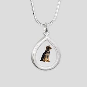 German Shepherd! Silver Teardrop Necklace