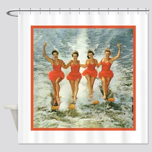 4 waterskiers Shower Curtain