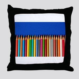 Colorful pencil crayons on blue background Throw P