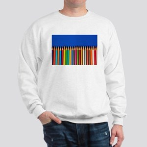 Colorful pencil crayons on blue background Sweatsh