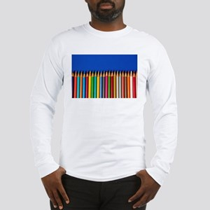 Colorful pencil crayons on blue background Long Sl