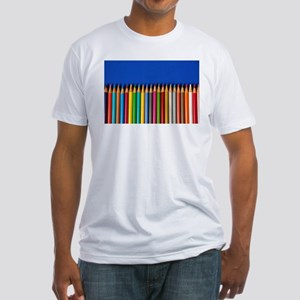 Colorful pencil crayons on blue background T-Shirt