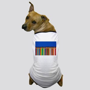 Colorful pencil crayons on blue background Dog T-S