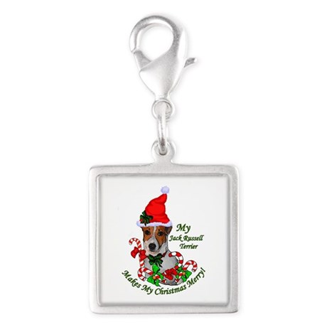 Jack Russell Terrier Christma Silver Square Charm