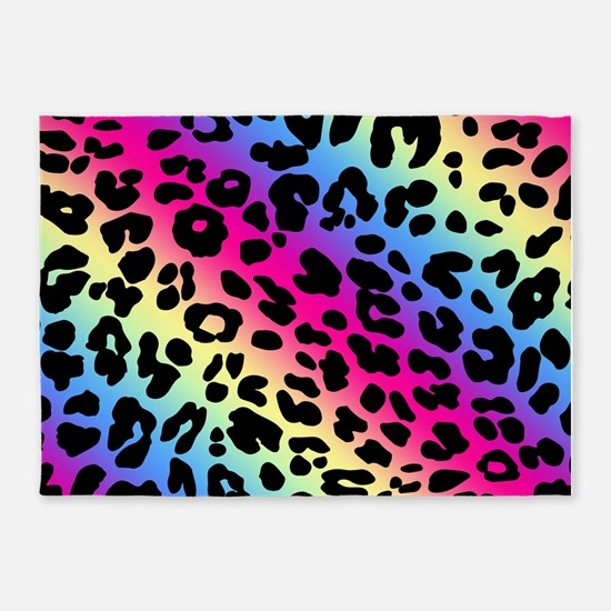 Neon Leopard Print 5'x7'Area Rug
