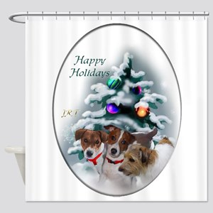 Jack Russell Terrier Christmas Shower Curtain
