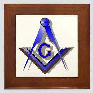 Masonic Square and Compass Framed Tile