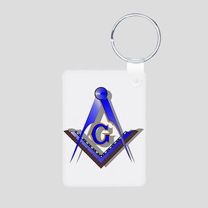 Masonic Square and Compass Aluminum Photo Keychain