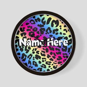 Personalized Rainbow Leopard Wall Clock