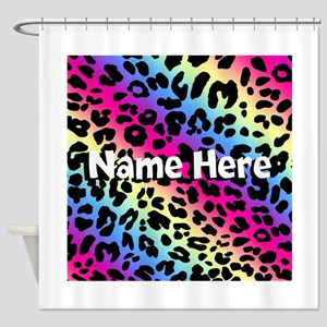 Personalized Rainbow Leopard Shower Curtain