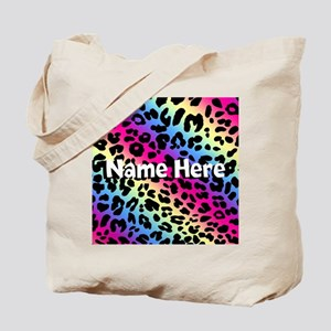 Personalized Rainbow Leopard Tote Bag