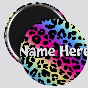 Personalized Rainbow Leopard Magnet