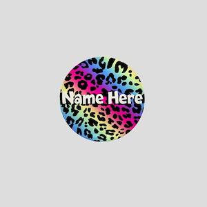Personalized Rainbow Leopard Mini Button