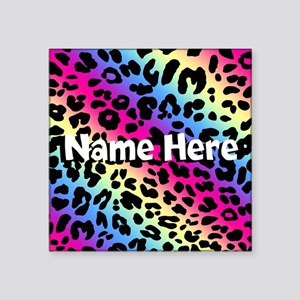 "Personalized Rainbow Leopard Square Sticker 3"" x 3"