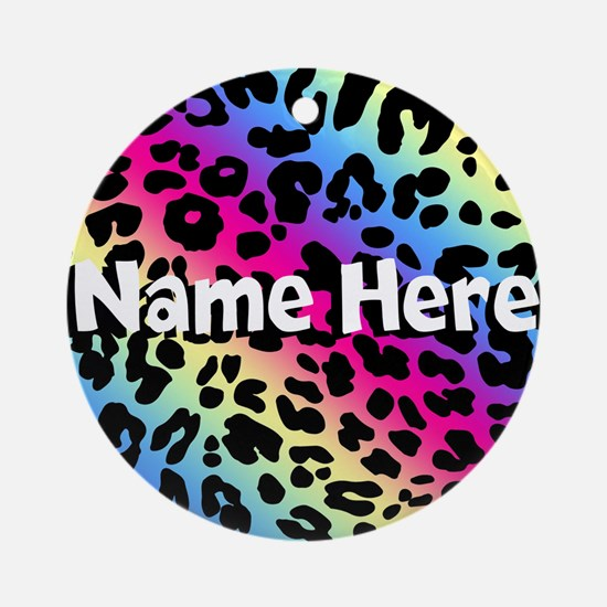 Personalized Rainbow Leopard Ornament (Round)