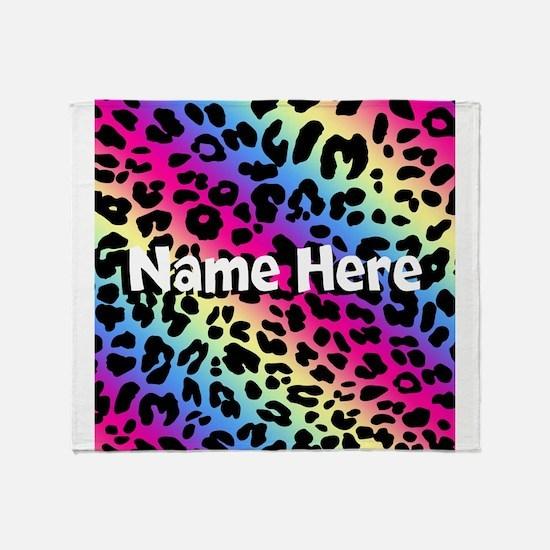 Personalized Rainbow Leopard Throw Blanket
