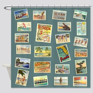 Vintage Florida Postcards Shower Curtain