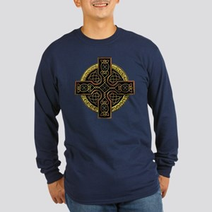 Golden Celtic Cross Long Sleeve Dark T-Shirt