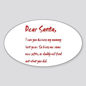 Dear Santa Kissing Mommy Oval Sticker