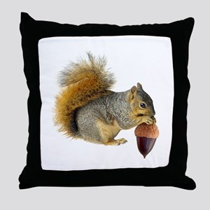Squirrel Eating Acorn Throw Pillow