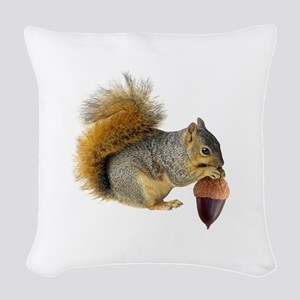 Squirrel Eating Acorn Woven Throw Pillow