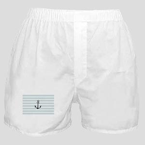 Anchor and Beach Hut Blue Stripes Boxer Shorts