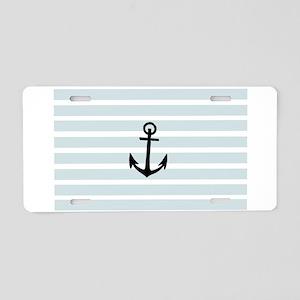 Anchor and Beach Hut Blue Stripes Aluminum License