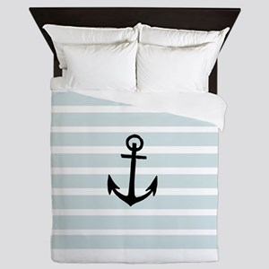 Anchor and Beach Hut Blue Stripes Queen Duvet