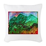 Green Mountains Woven Throw Pillow